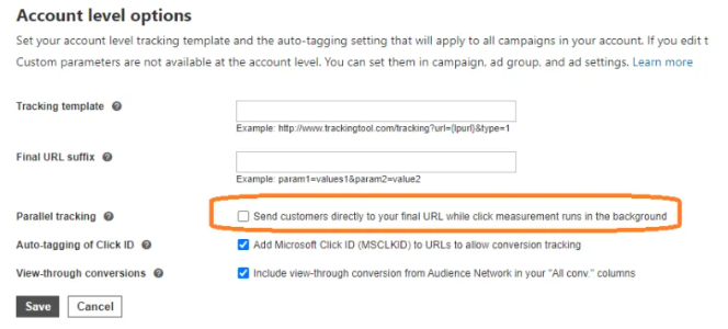 Parallel Tracking in Microsoft Ads