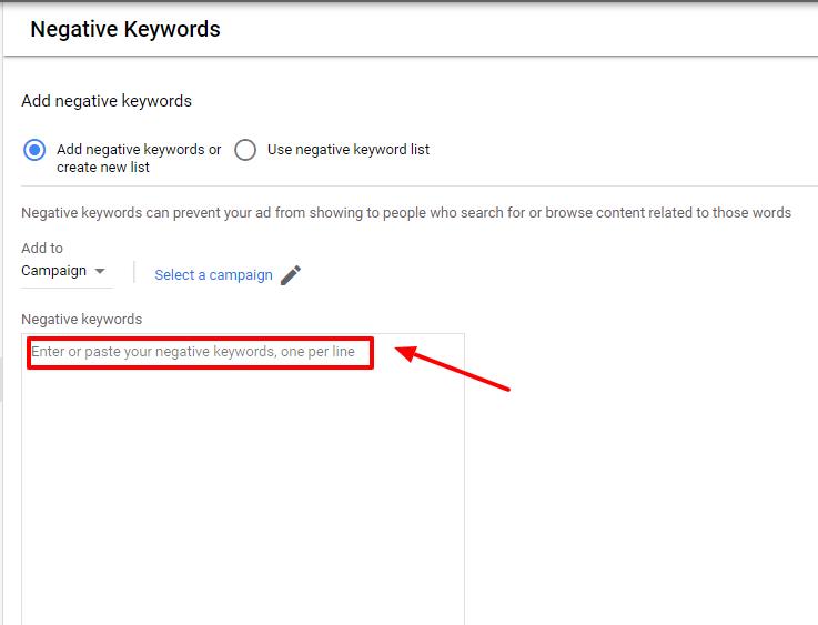 paste copied negative keywords