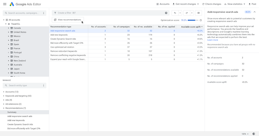 Google Ads Editor v1.4 supports recommendations and local campaign