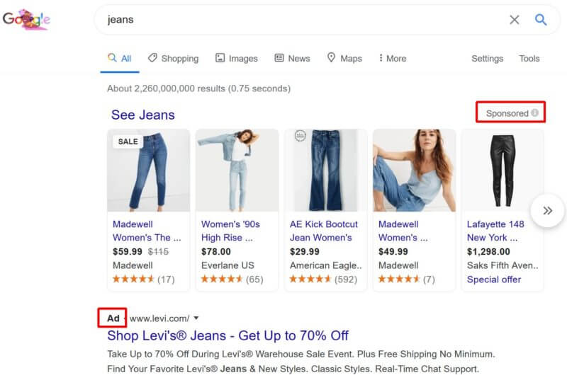 Changed 'Ad' labeling for Shopping ads on Desktop