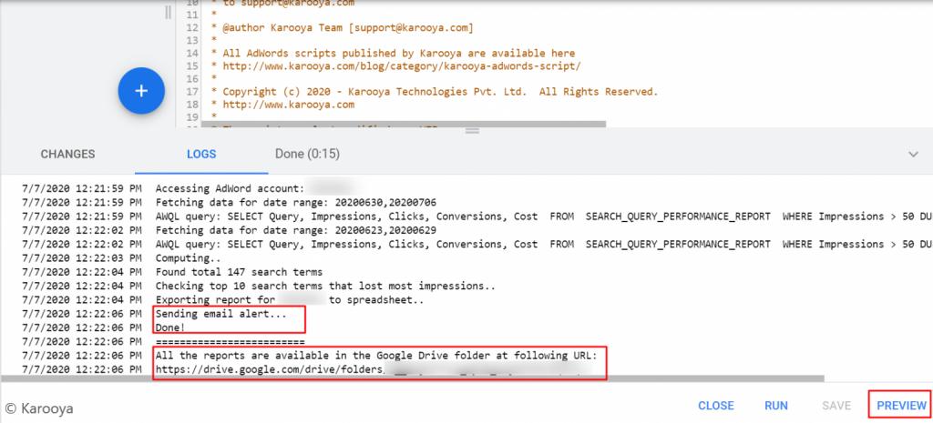 google ads script log
