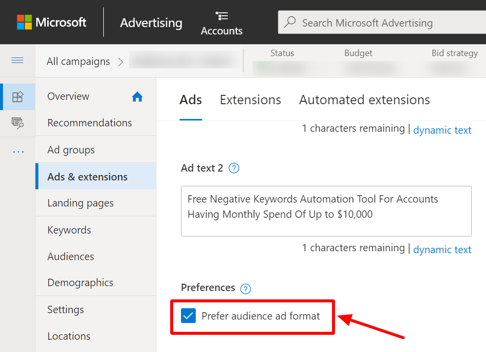 select prefer audience ad format microsoft ads