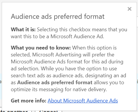 using audience ad format microsoft ads