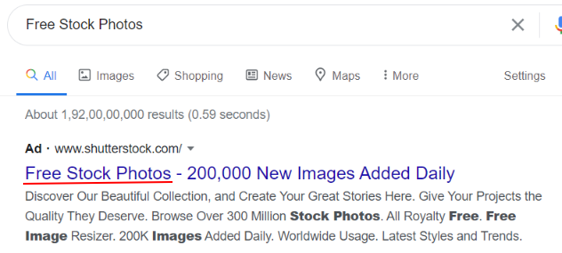Ad relevance in google search