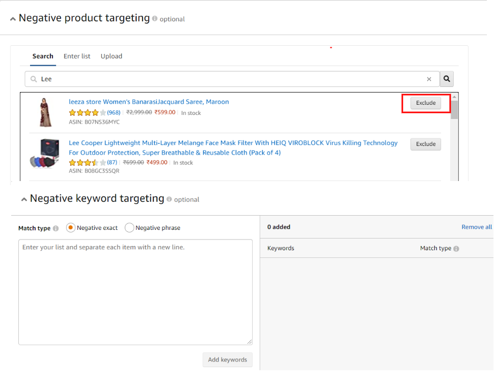 negative keyword and product targeting in Amazon