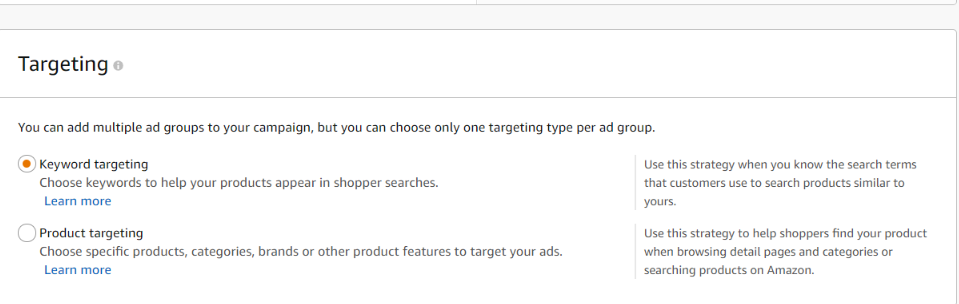 keyword and product targeting in manual campaign