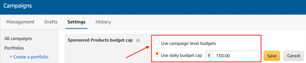 amazon ads account level budget cap