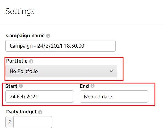 amazon ads campaign start end date and portfolio