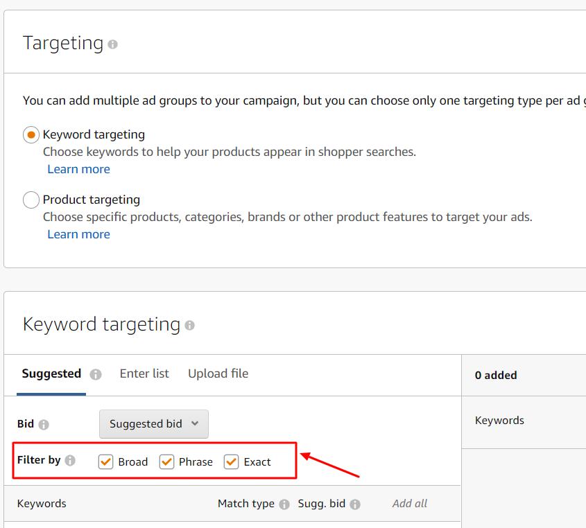 keyword targeting match types amazon ads