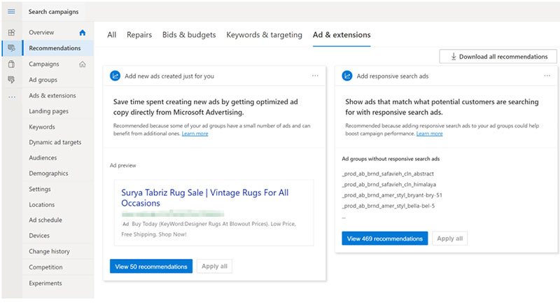 Introducing ad suggestions in Microsoft advertising