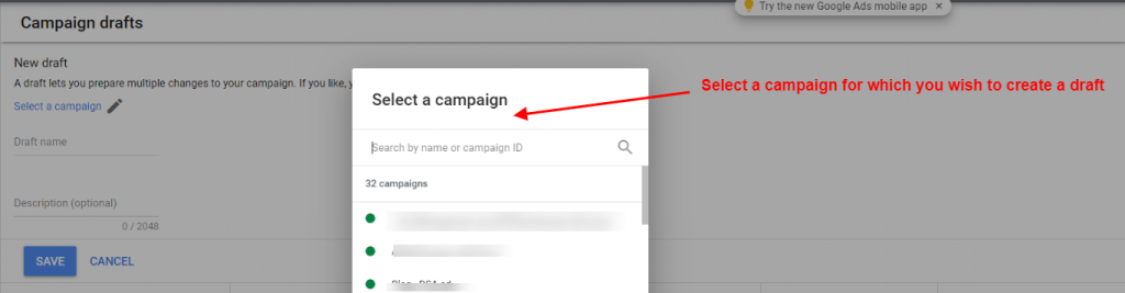 Create a ad group in google ads to run an experiment