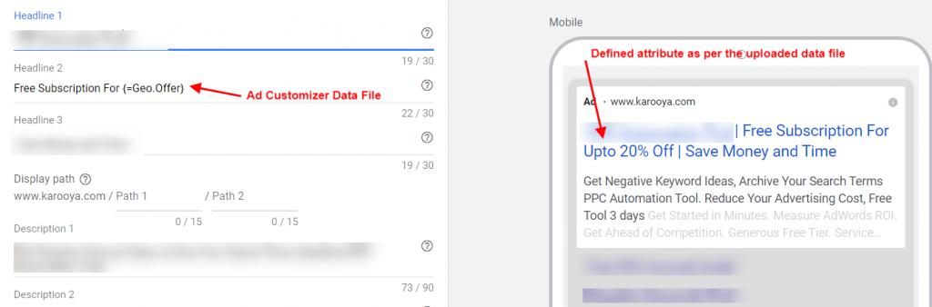 Ad customizer data file in ETA