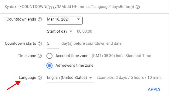 ETA Countdown customizer has language feature
