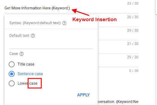 Keyword Insertion ad customizer in RSAs and ETA