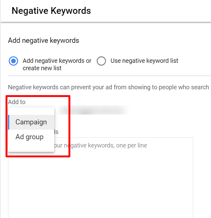 add negative keyword to ad group or campaign