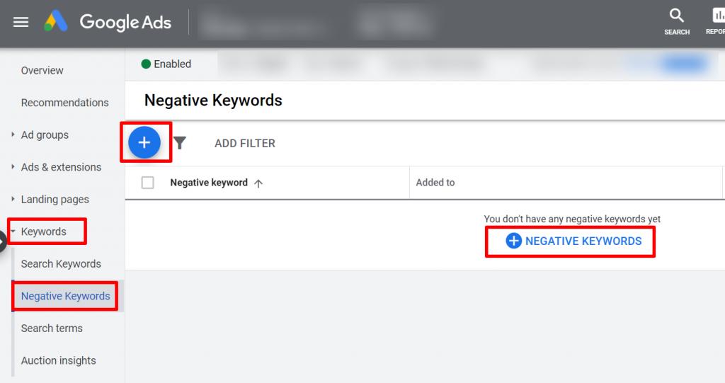add new negative keywords