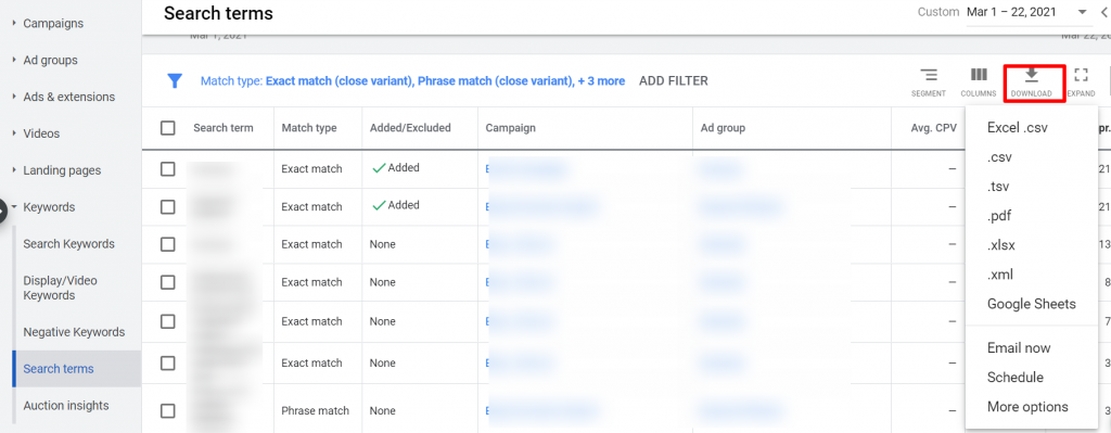 download search terms report google ads