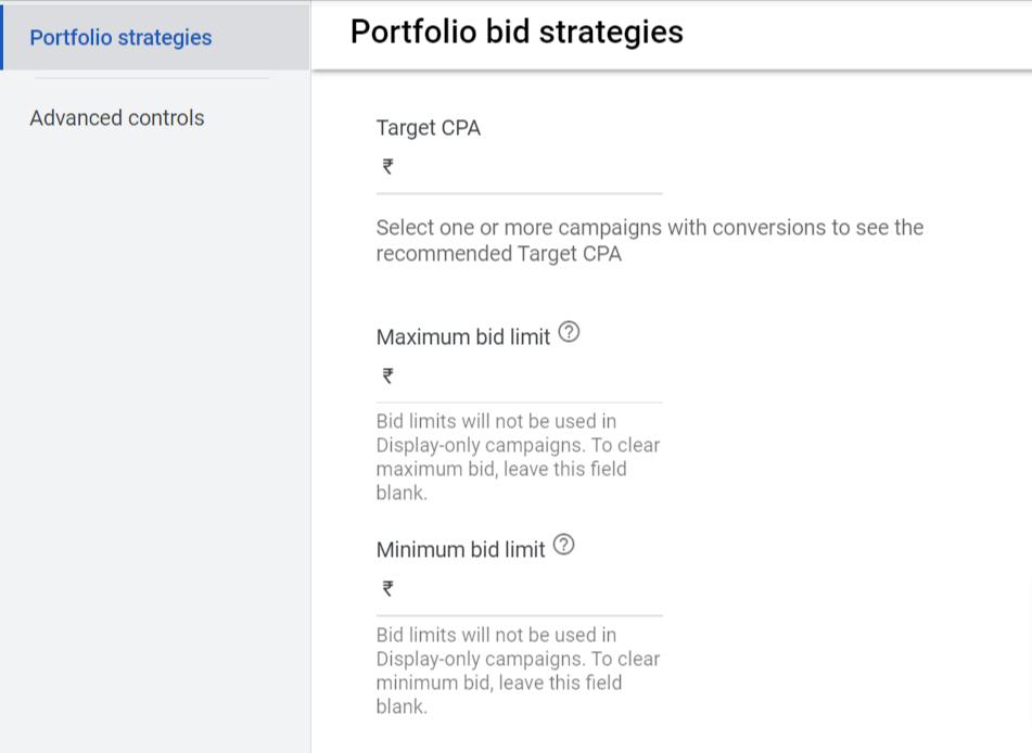portfolio bid strategies Target CPA & Target ROAS