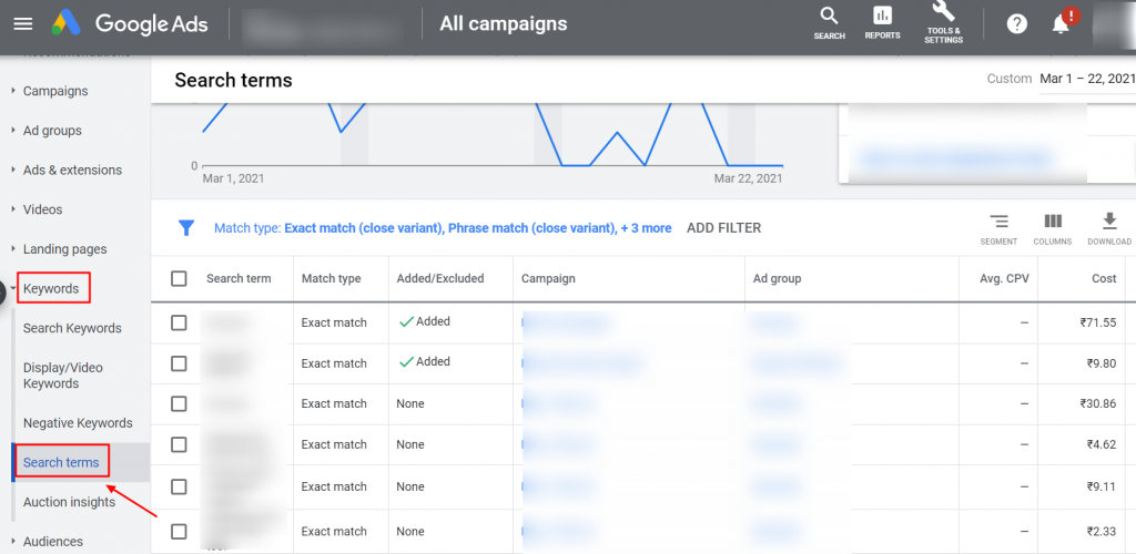 search terms google ads ui