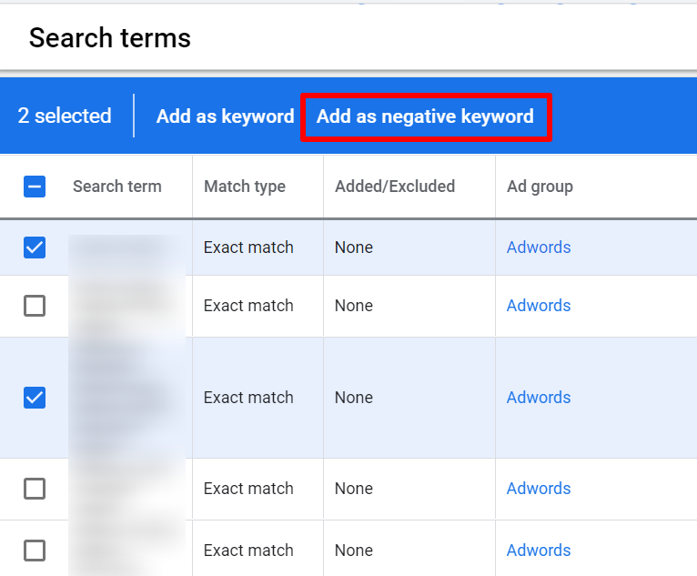 select search terms and add as negative keyword
