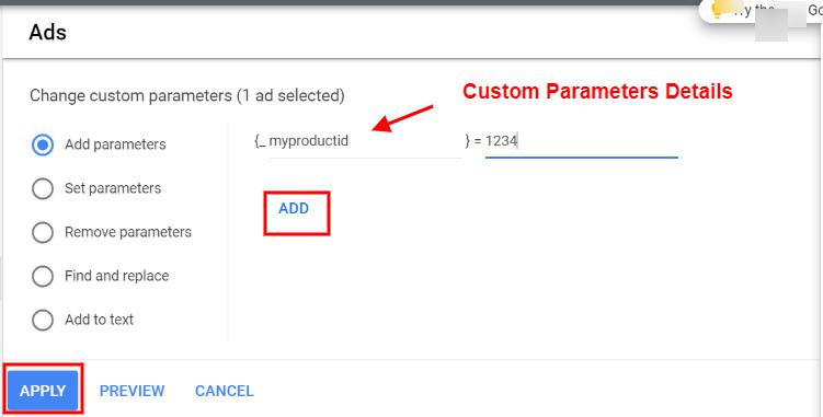 add custom parameter at ad level