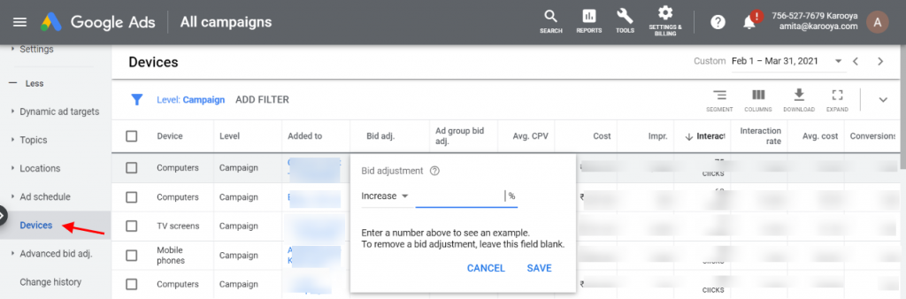 Google Ads Bid adjustment in devices