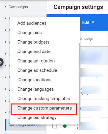 Add custom parameters at the campaign level