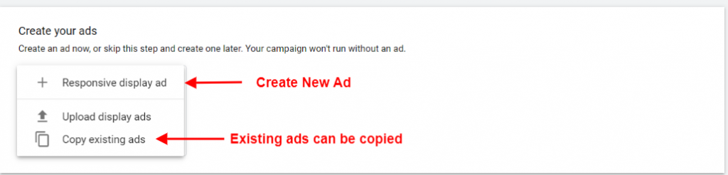 Create a new ad while creating a draft in Google ads