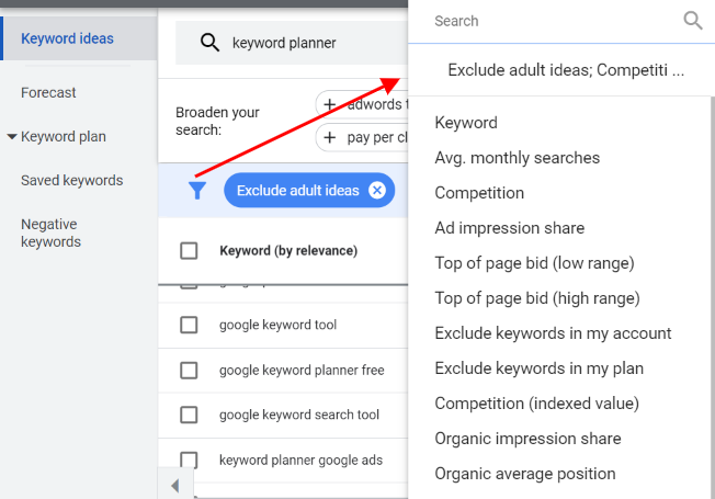Add filter feature in keyword planner