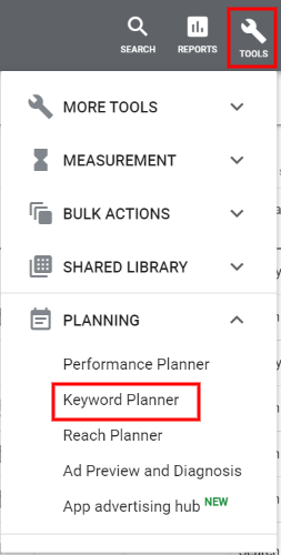 Accessing keyword planner tool in Google Ads