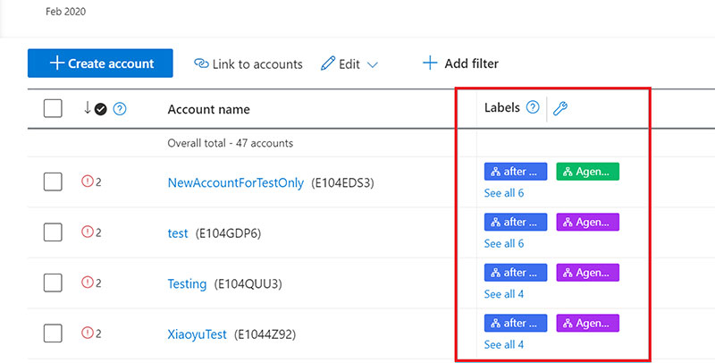 Organize accounts with labels in Microsoft Advertising