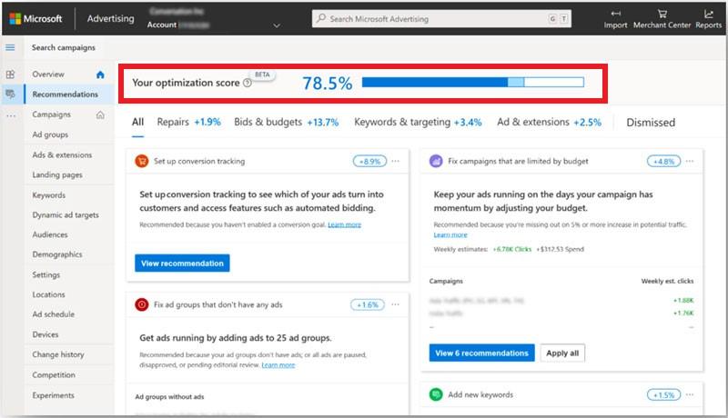 Optimization Score in Microsoft Advertising