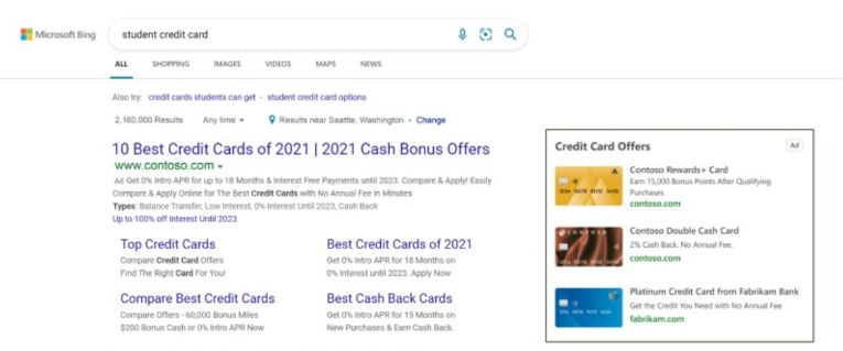 Credit card feature in Microsoft advertising