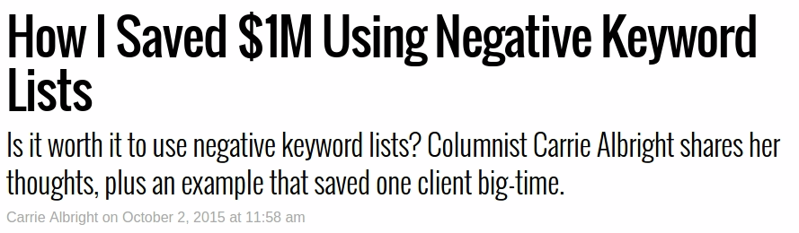 Negative Keywords Article